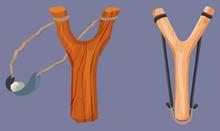 Wooden Slingshot With Stone Bu...