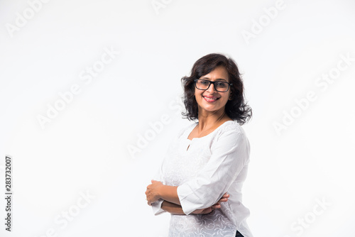 Canvastavla  Indian Mid age women/lady's portrait, standing isolated over white background