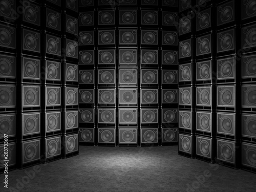 Photo Wall of guitar amps