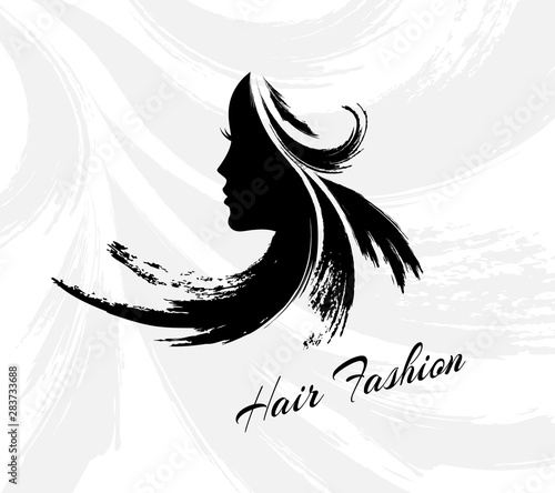 Photo sur Toile Les Textures Hair fashion emblem. Woman head silhouette with creative hairstyle from paint brush strokes