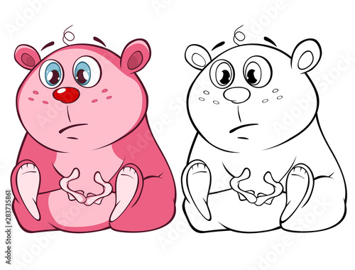 Foto auf AluDibond Babyzimmer Vector Illustration of a Cute Cartoon Character Guinea Pig for you Design and Computer Game. Coloring Book Outline Set