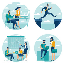 Flat Design Business Concept Set