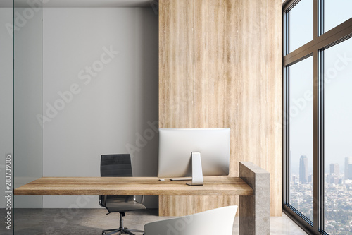 Obraz Loft style empty office with Wooden table and wall. - fototapety do salonu