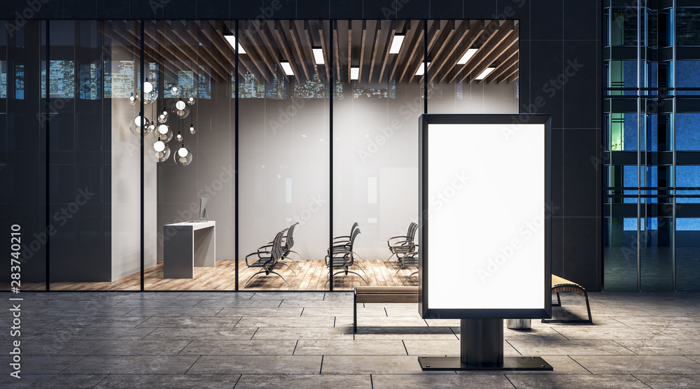 Fototapety, obrazy: Advertising concept with blank white advertising banner and conference room in the night.
