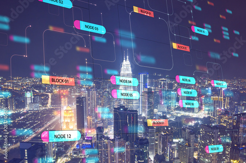 Fotografía  Global technology concept with digital node tree screen and night megapolis city