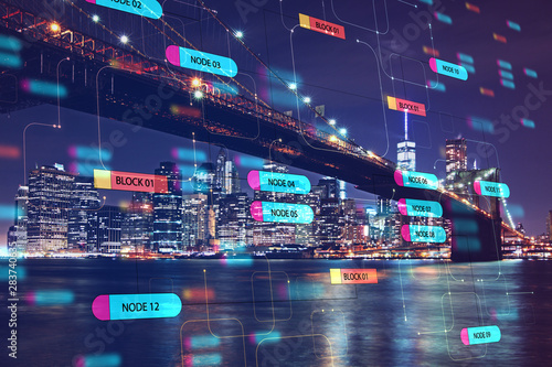 Programming and technology concept with digital node tree and night city view.