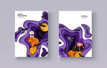 Halloween 3d Papercut Layered Design. Mummy, Pumpkin, Bat, Castle, Ghost, Moon