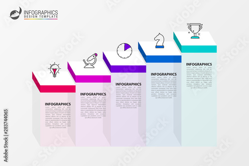 Infographic design template. Creative concept with 5 steps Wallpaper Mural