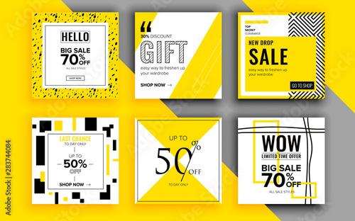 Fotografia  Set of sale banner template design. Vector illustration.