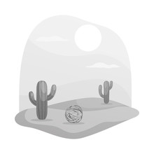 Vector Illustration Of Tumbleweed And Cactus Icon. Set Of Tumbleweed And West Stock Symbol For Web.