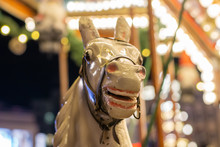 Head Of A Wooden Horse On The Child Carousel