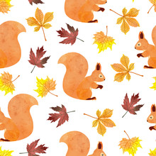 Seamless Autumn Pattern With Squirrel, Vector Watercolor Fall Illustration.