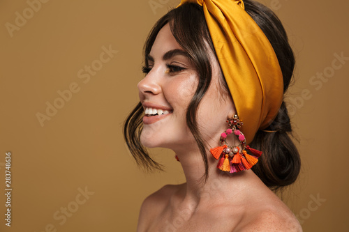 Photo Close up beauty portrait of an attractive young topless woman