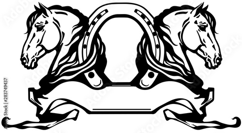 Fototapeta two heads of horses in profile. Logo, banner, emblem with horseshoe and ribbon scroll. Black and white side view vector obraz