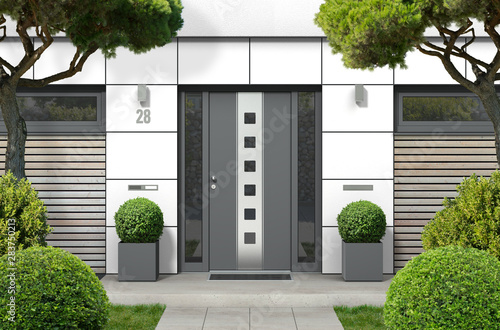 Photo sur Toile Les Textures 3D rendering of modern real estate bungalow home facade with white front door, yard and pine trees