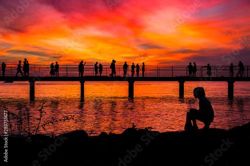 The girl, the lake and the sunset, Porto Alegre - Brazil Wallpaper Mural