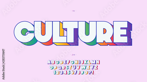 Vector culture font 3d bold color style trendy typography