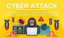 Hacker Cyber Attack Concept Banner. Flat Illustration Of Hacker Cyber Attack Vector Concept Banner For Web Design