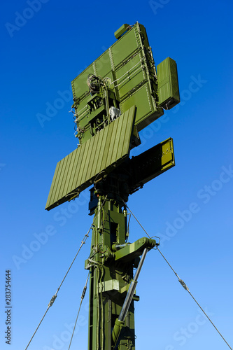 Air defense radar of military mobile antiaircraft system in green color, modern Canvas Print