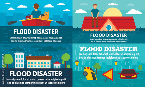 Flood banner set Canvas Print