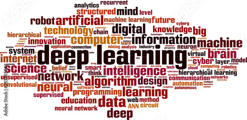 Fotografie, Tablou  Deep learning word cloud