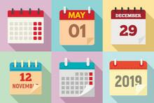 Calendar Icons Set. Flat Set O...