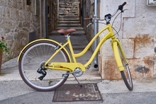 Yellow Bicycle On The Street