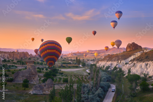 Colorful hot air balloons in Goreme national park, Cappadocia,Turkey
