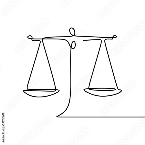 Fotografie, Tablou Continuous line drawing of law symbol of weight balance