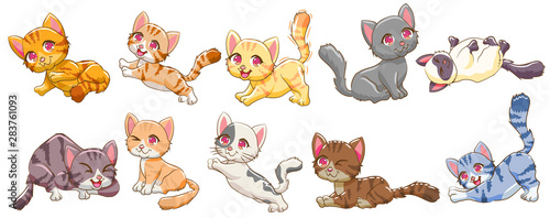 obraz lub plakat cat vector set graphic clipart design
