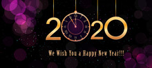 2020 Happy New Year Banner Design With Hanging Golden Numbers And Vintage Clock On Purple Background With Bokeh Effect And Glitter Blurry Lights. Holiday Poster, Card Or Invitation Template