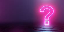 Neon Glowing Question Mark Abstract Blue And Pink Background. 3d Rendering
