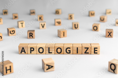 Photo apologize - word from wooden blocks with letters, sorry concept, random letters