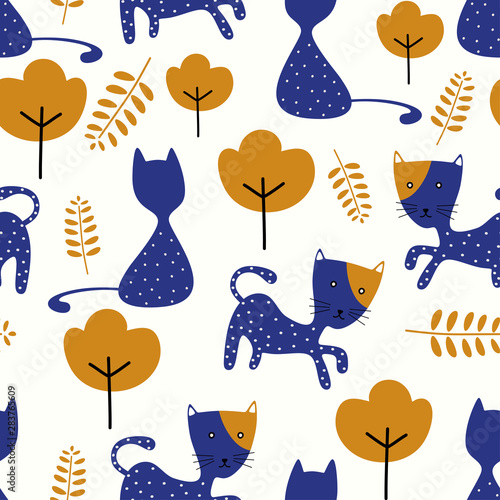 obraz lub plakat Cute background nursery seamless pattern with funny cat. Vector illustration repeat ready for baby kids fashion textile print.