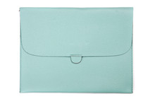 Light Blue Leather Tablet Computer Case On The White Background
