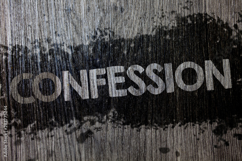 Text sign showing Confession Canvas Print