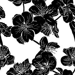 Black apple tree flowers silhouette