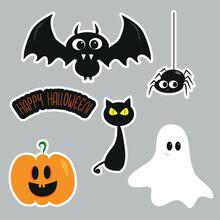 Halloween Set, Cute Bat, Spider, Ghost,and Pumpkin.