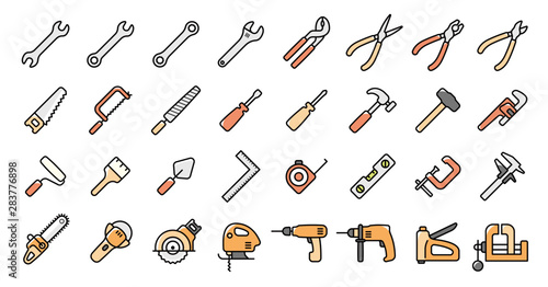 Fotomural  Tool Icon Set
