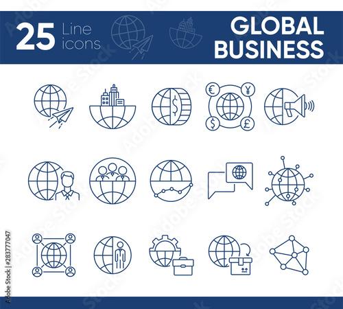 Fotografie, Obraz  Global business line icon set