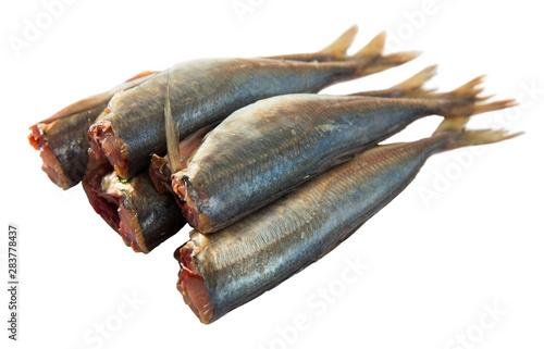 Fotografija  Atlantic horse mackerel on white surface