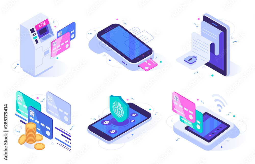 Fototapeta Isometric online payments. Electronic finances bill, finance payment security and digital purchase. Commerce mobile apps, digital shopping transaction. Isolated vector illustration icons set