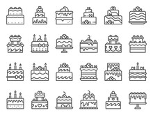 Outline Cake Icons. Sweet Cupcake, Homemade Dessert With Candles And Bakery Delicious Cakes Line Art. Birthday Party, Anniversary Or Wedding Cake With Candles. Isolated Vector Icon Set