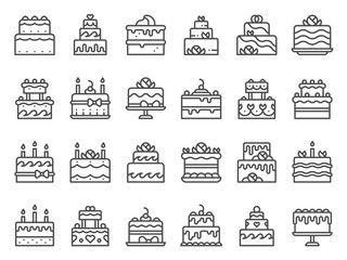 Ikone kolača s konturama. Slatki kolač, domaći desert sa svijećama i pekarski ukusni kolači u liniji. Rođendanska zabava, godišnjica ili svadbena torta sa svijećama. Izolirani vektor set ikona