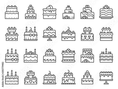 Outline cake icons Fototapeta