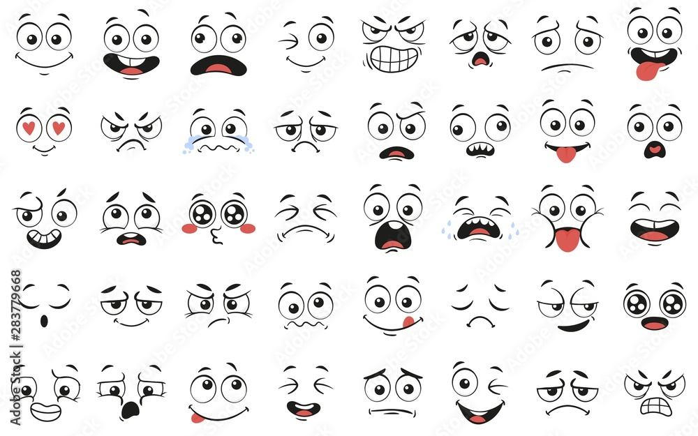 Fototapeta Cartoon faces. Expressive eyes and mouth, smiling, crying and surprised character face expressions. Caricature comic emotions or emoticon doodle. Isolated vector illustration icons set