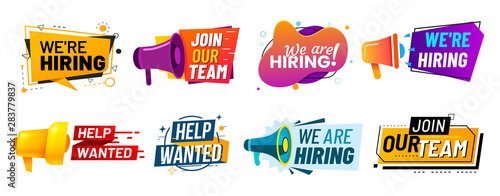 Fototapeta Join our team banners. We are hiring communication poster, help wanted advertising banner with speaker and vacant badge. Hr recruiting hire, vacancy job offer isolated vector signs set obraz