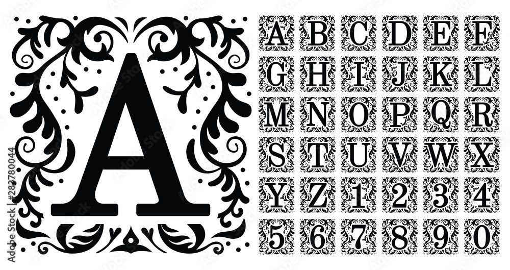Fototapety, obrazy: Vintage monogram letters. Decorative ornamental ancient capital letter, old alphabet monograms and filigree ornament font. Renaissance or victorian engraved initial abc. Isolated vector symbols set