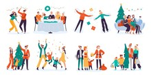Christmas People. Winter Family Holidays, Decorate Xmas Tree And Home Holiday Dinner. Skating And Skiing Characters, Family New Year Celebration. Isolated Vector Illustration Icons Set