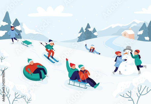 Slika na platnu Kids riding sledding slide